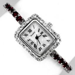 Элегантные Женские Серебряные Часы с Родолитом и Белым Топазом