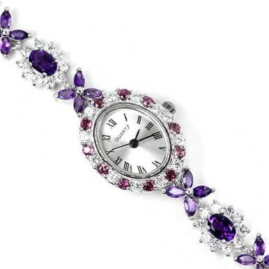 Прекрасные Наручные Часы для Дам из Серебра с Аметистом и Гранатом