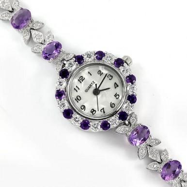 Блестящие Женские Наручные Часы из Серебра 925 Пробы с Аметистом