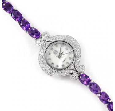 Нежные Наручные Часы из Серебра для Женщин с Натуральным Аметистом