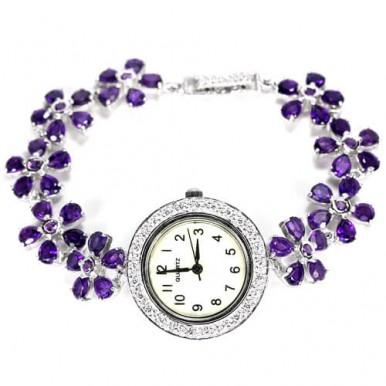 Красивые Женские Наручные Серебряные Часы с Натуральным Аметистом
