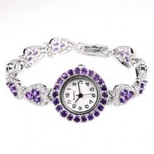 Чарующие Женские Серебряные Наручные Часы с Натуральным Аметистом