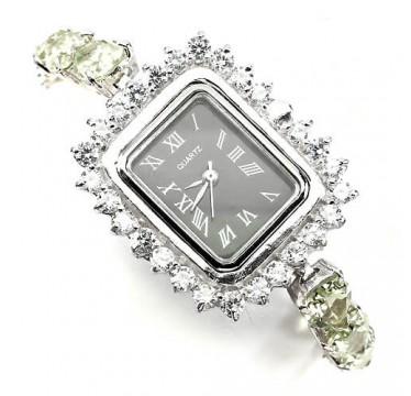 Милые Серебряные Часы для Женщин с Науральным Зеленым Аметистом