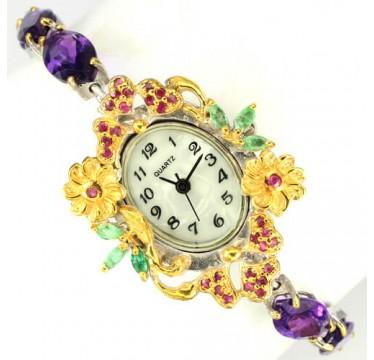 Великолепные Серебряные Женские Часы с Природным Аметистом Ручной Работы
