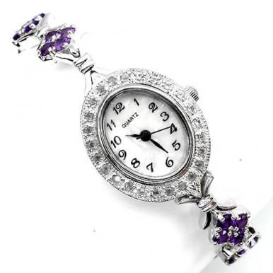Серебряные Женские Наручные Часы с Натуральным Аметистом и Белым Топазом