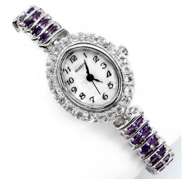 Ювелирные Наручные Женские Часы из Серебра 925 Пробы с Аметистом