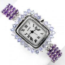 Очаровательные Наручные Женские Часы из Серебра с Аметистом и Танзанитом