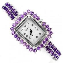 Роскошные Серебряные Женские Наручные Часы с Природным Аметистом