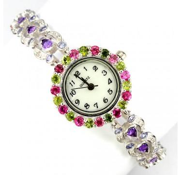 Оригинальные Серебряные Наручные Часы с Аметистом, Танзанитом и Турмалином
