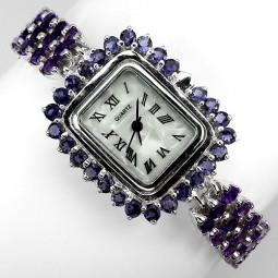 Потрясающие Наручные Часы из Серебра с Природным Аметистом и Иолитом