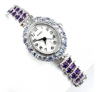 Прелестные Женские Часы на Руку из Серебра с Аметистом и Танзанитом