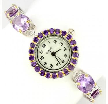 Броские Женские Наручные Часы из Серебра 925 Пробы с Аметистом