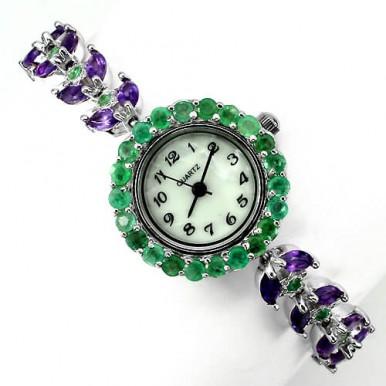Сияющие Природные Аметист и Изумруд Серебряные Женские Часы на Руку