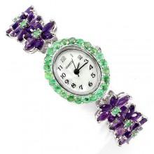Завораживающие Серебряные 925 Женские Часы с Аметистом и Изумрудом