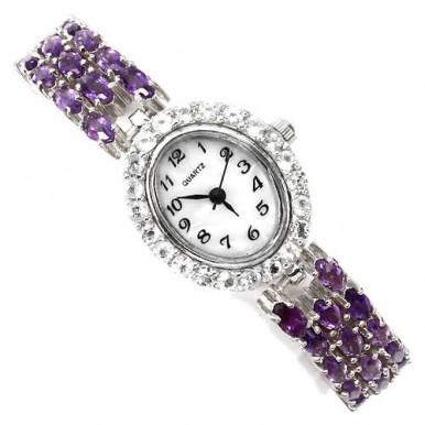 Ослепительные Женские Серебряные Наручные Часы с Аметистом и Топазом