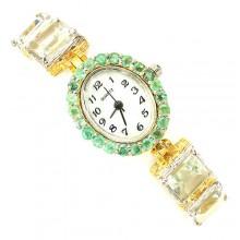 Обаятельные Ювелирные Часы для Женщин из Серебра с Зеленым Аметистом
