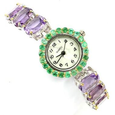 Изящные Серебряные Наручные Часы для Женщин с Аметистом и Изумрудом