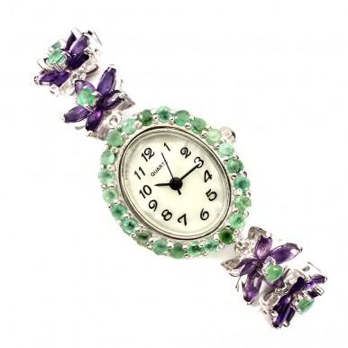 Привлекательные Серебряные Часы для Женщин с Аметистом и Изумрудом