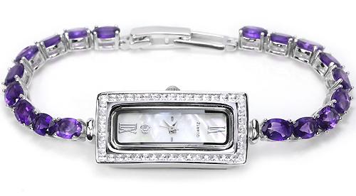Серебряные Женские Часы с Браслетом из Аметистов