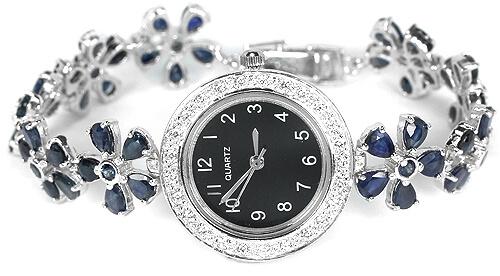 Женские Серебряные Часы с Натуральными Сапфирами