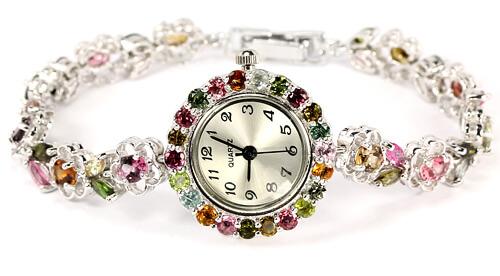 Серебряные Женские Часы с Натуральными Турмалинами