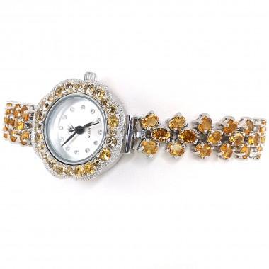 Жёлтый Цитрин Натуральный Женские Серебряные Часы Регулируемые