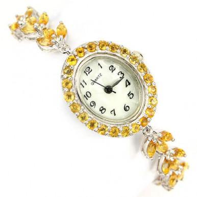 Элегантные Серебряный Женские Часы с Натуральным Желтым Цитрином