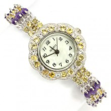 Блестящие Женские Часы на Руку из Серебра с Цитрином, Аметистом, Топазом