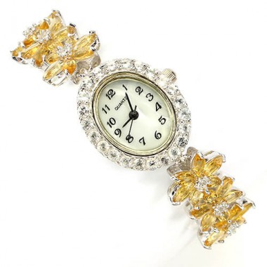 Роскошные Женские Серебряные Часы с Цитрином и Белым Топазом
