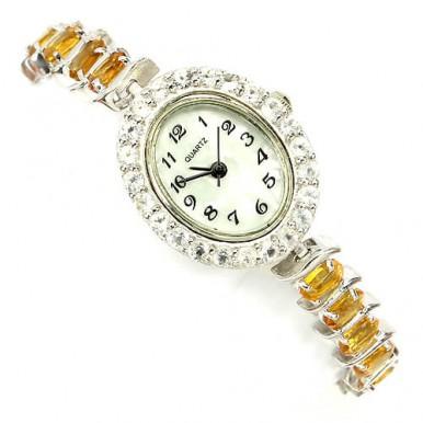 Сияющие Драгоценные Женские Наручные Часы из Серебра с Цитрином