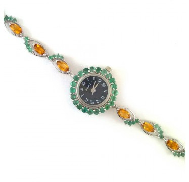 Милые Женские Серебряные Наручные Часы с Натуральным Цитрином и Изумрудом