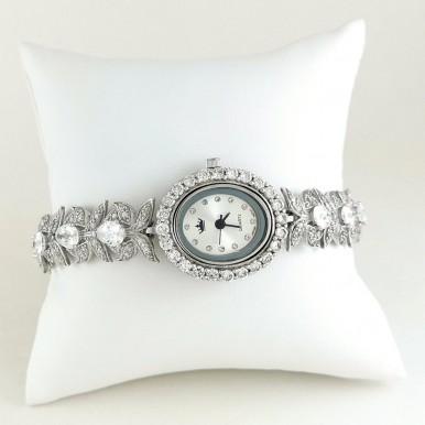 Браслет Цветочки Серебряные Женские Часы с Фианитами