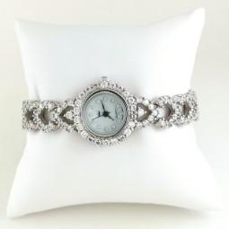 Сердечки Серебряные Наручные Часы для Женщин с Фианитами