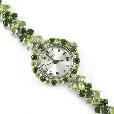Природный Зеленый Хромдиопсид и Перидот Серебряные Женские Часы