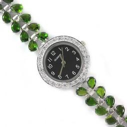 Драгоценные Наручные Женские Часы из Серебра 925 Пробы с Хромдиопсидом