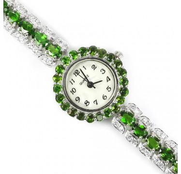 Прекрасные Наручные Часы для Женщин из Серебра с Хромдиопсидом