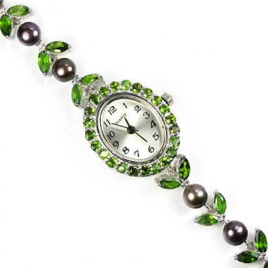 Красивые Женские Серебряные 925 Пробы Часы с Хромдиопсидом и Жемчугом