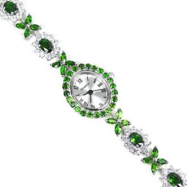 Блестящие Серебряные Женские Часы на Руку с Зеленым Хромдиопсидом