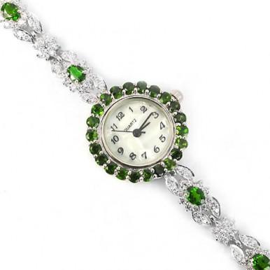 Нежные Женские Наручные Часы из Серебра с Натуральным Хромдиопсидом