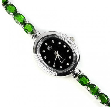 Очаровательные 925 Серебряные Женские Часы с Зеленым Хромдиопсидом