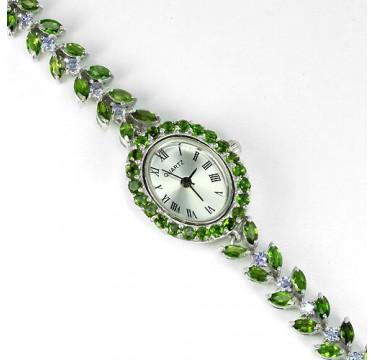 Восхитительные Женские Часы из Серебра с Хромдиопсидом и Танзанитом