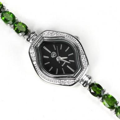Эффектные Женские Ювелирные Часы из Серебра с Хромдиопсидом