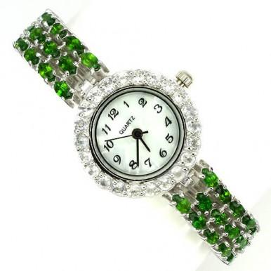 Эксклюзивные Женские Часы из Серебра 925 Пробы с Хромдиопсидом и Топазом