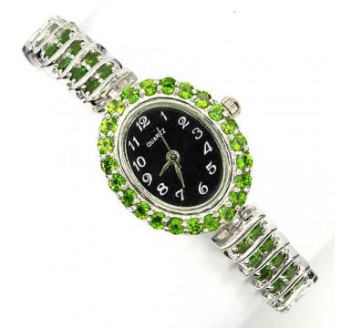 Роскошные Серебряные 925 Пробы Женские Часы с Хромдиопсидом