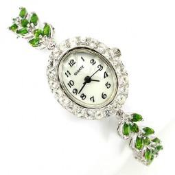 Модные Серебряные Женские Часы на Руку с Хромдиопсидом и Топазом