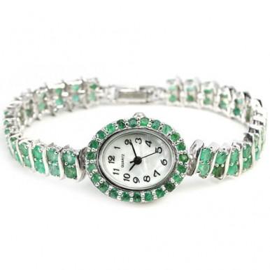 Привлекательные Серебряные Часы для Женщин с Натуральным Изумрудом