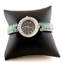 Блестящие Серебряные Часы для Женщин с Изумрудом и Топазом