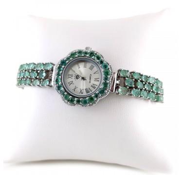 Регулируемая длина Браслета Часы с Изумрудами из серебра Женские