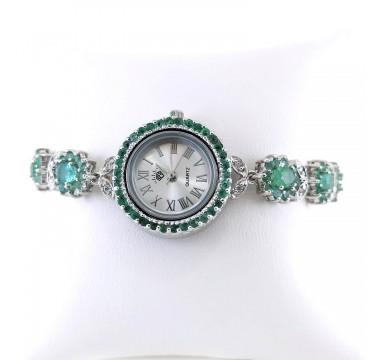 Универсальный Размер Часы из Серебра для Женщин с Изумрудами