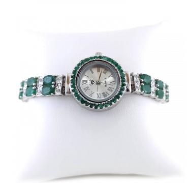 Регулируемые Женские Часы из Серебра с Натуральным Изумрудом